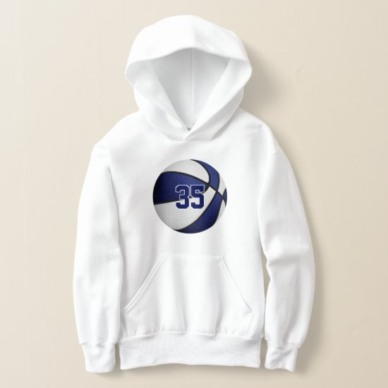 blue white team colors jersey number basketball hoodie