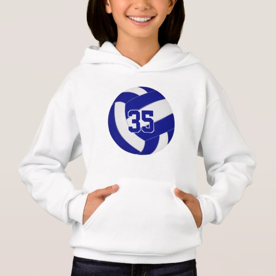 blue white team colors jersey number volleyball hoodie