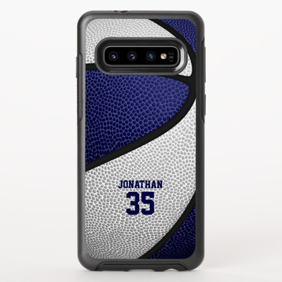 blue white team colors personalized basketball OtterBox symmetry samsung galaxy s10 case