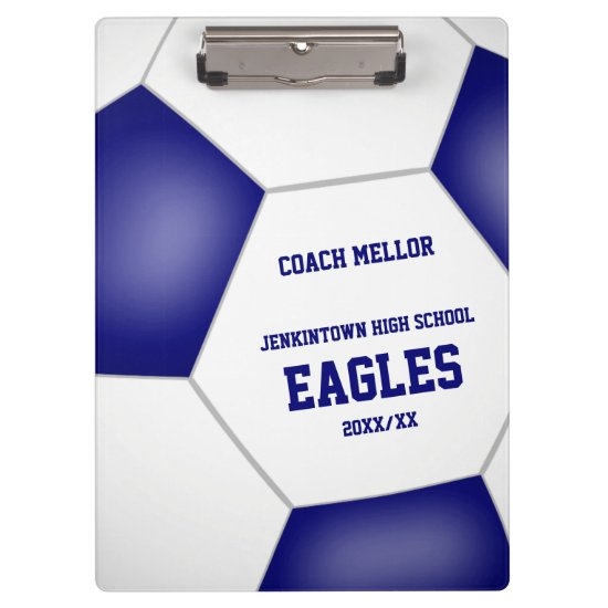 blue white team colors personalized soccer coach clipboard