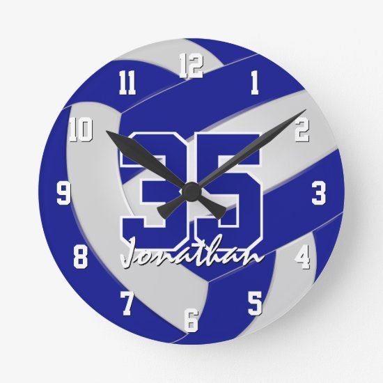 blue white team colors personalized volleyball round clock