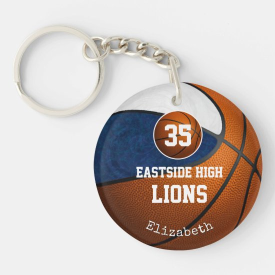 Blue white team colors play like a girl basketball keychain