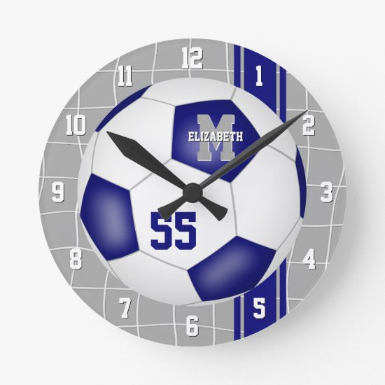 blue white team colors varsity stripes soccer round clock