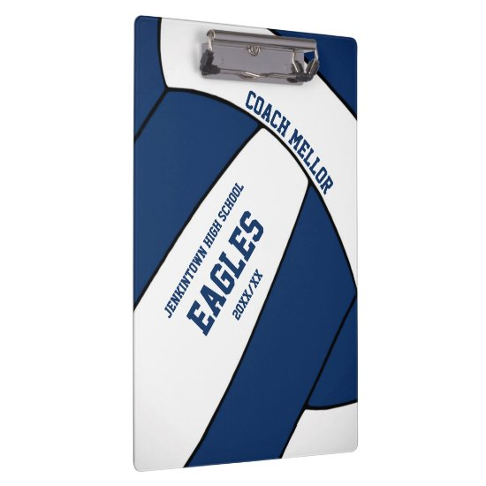 blue white team colors volleyball coach clipboard