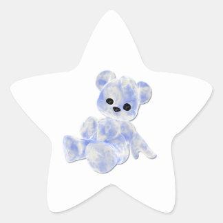 Blue & White Teddy Bear Star Sticker