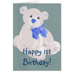 Blue & White Teddy Card
