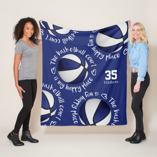 blue white The basketball court is my happy place Fleece Blanket