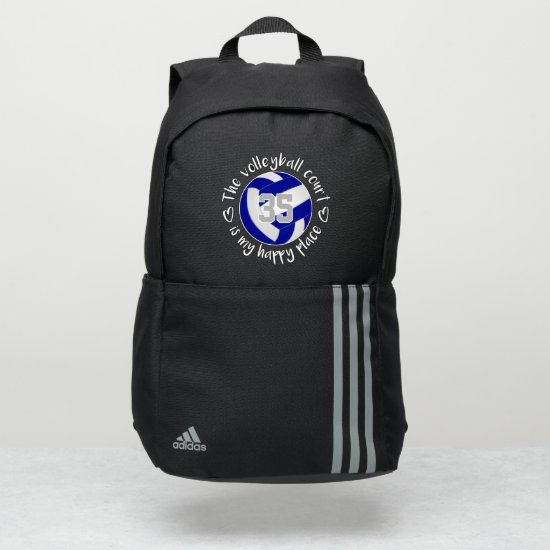 blue white The volleyball court is my happy place Adidas Backpack
