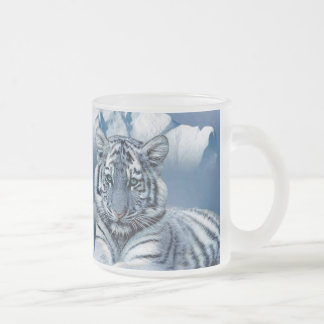 Blue White Tiger Frosted Glass Coffee Mug