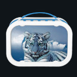 """Blue White Tiger Lunch Box<br><div class=""""desc"""">Amazing wildlife,  big cats tigers. Blue white tiger,  snow,  ice and mountain.</div>"""