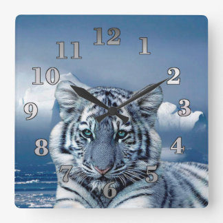 Blue White Tiger Square Wall Clock