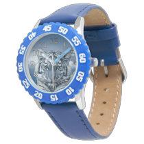 Blue White Tiger Wrist Watch