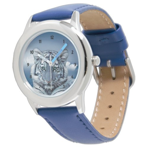 Blue White Tiger Wrist Watch