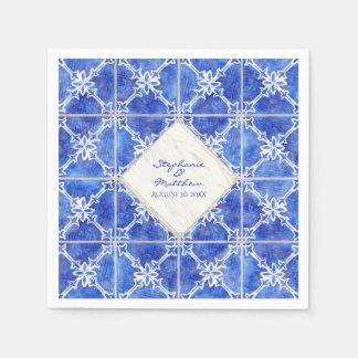 Blue White Tile Pattern Wedding Watercolor Rustic Napkin