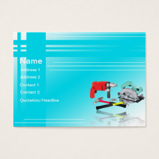 Blue white Tools Construction Business Card