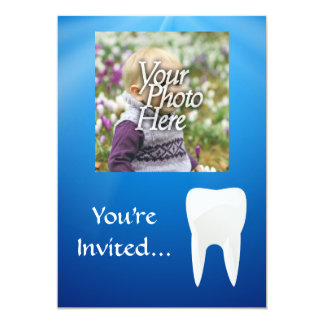 Blue/White Tooth Photo Invitation