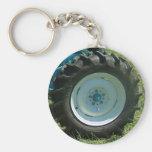 blue white tractor wheel basic round button keychain