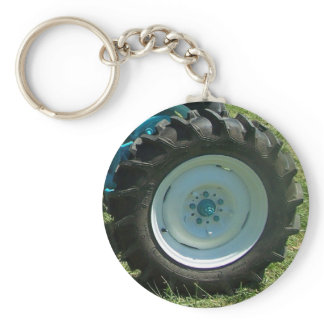 blue white tractor wheel keychain