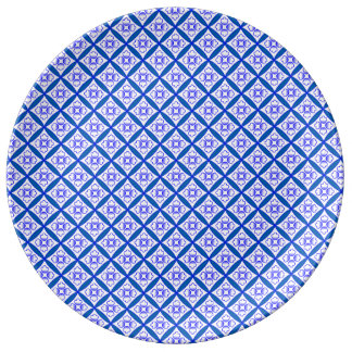 Blue, White Traditional Cathedral Patchwork Design Dinner Plate