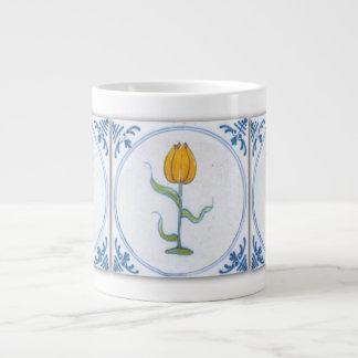 Blue White Tulip Faux Tile Coffee Mug 20 Oz Large Ceramic Coffee Mug