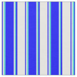 [ Thumbnail: Blue, White & Turquoise Colored Pattern Fabric ]