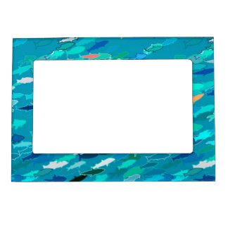 Blue, white, turquoise school of fish magnetic photo frame