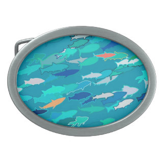Blue, white, turquoise school of fish oval belt buckle