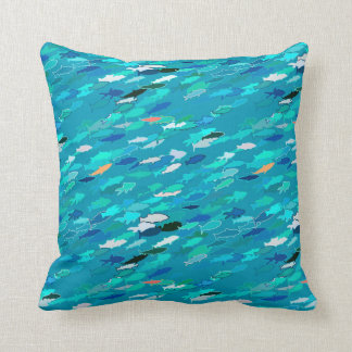 Blue, white, turquoise school of fish throw pillow