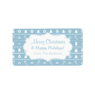 Blue White Ugly Christmas Sweater Icons Pattern Label