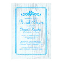 Blue White Vintage Barn Wood Bridal Shower Invites