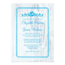 Blue & White Vintage Barn Wood Wedding Invitations Invite