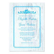 Blue & White Vintage Barn Wood Wedding Invitations