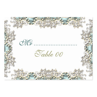 Blue white vintage filigree photo large business cards (Pack of 100)