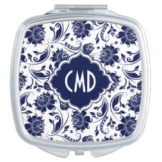 Blue & White Vintage Floral Lace Damasks 5 Vanity Mirror at Zazzle