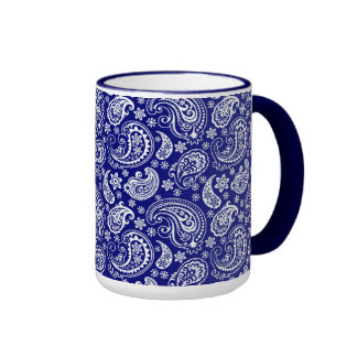 Blue White Vintage Floral Paisley Design Coffee Mugs