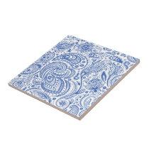 Blue & White Vintage Floral Paisley Pattern Ceramic Tile