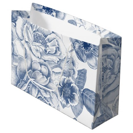 Blue white vintage floral party bag