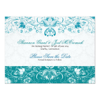 Blue & White Vintage Flowers -Save The Date 6.5x8.75 Paper Invitation Card
