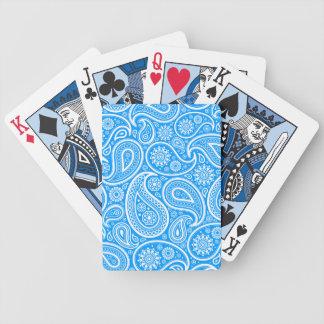 Blue & White Vintage Paisley Damasks Pattern Bicycle Playing Cards