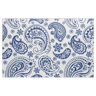 Blue White Vintage Paisley Pattern Fabric