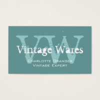 Blue White Vintage Shop Business Card Monograms