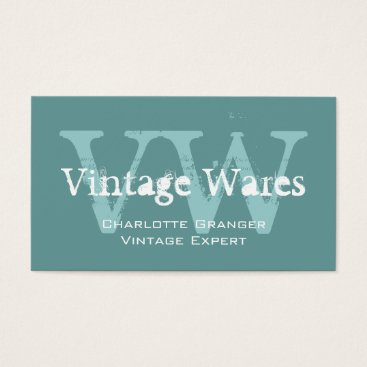 Professional Business Blue White Vintage Shop Business Card Monograms