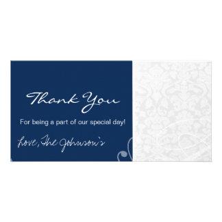 Blue White  Vintage Wedding Thank You Photo Cards