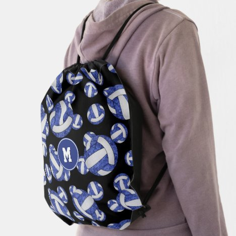 blue white volleyball accessories girls sports drawstring bag
