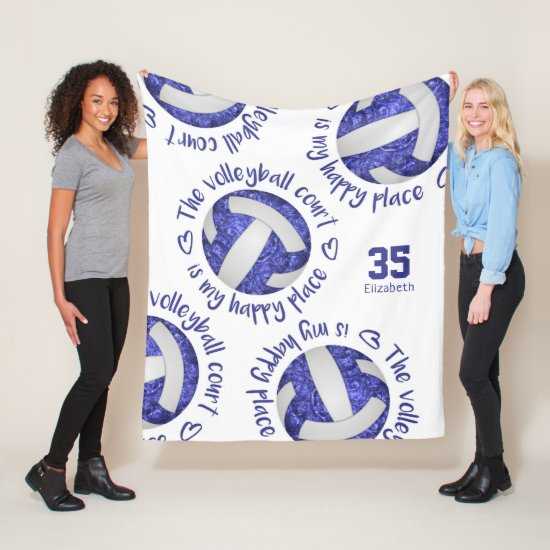 blue white volleyball court happy place typography fleece blanket