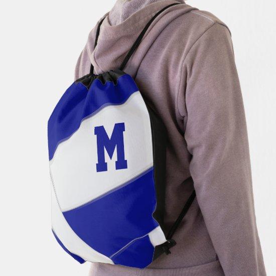 blue white volleyball girl boy school team colors drawstring bag