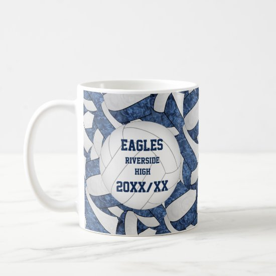 blue white volleyball team colors coach thank you coffee mug