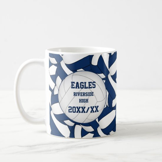 blue white volleyball team colors coach thanks coffee mug