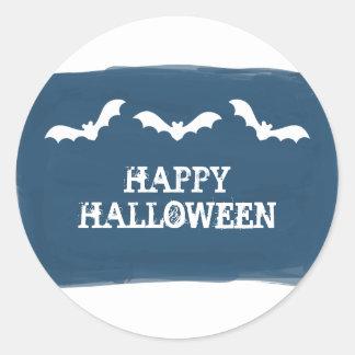 Blue White Watercolor Bats Halloween Stickers
