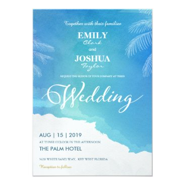 Beach Themed Blue & White Watercolor Beach Wedding Invitation